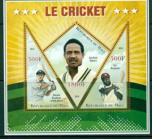 Mali 2013 Miniature Sheet Cricket 3 Values Sport Cricket Garfield Sobers Don Bradman Viv Richards MNH JandRStamps