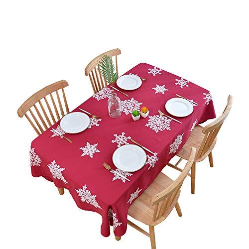 SUZONC Nuevo Mantel Impermeable De Copo De Nieve De Navidad Mantel De Restaurante Paño De Mesa De Café para El Hogar 140 * 220cm