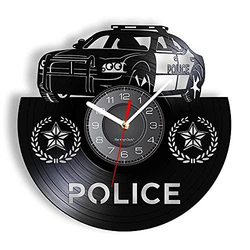 BBZZL Coche policía Coche Reloj de Pared Vinilo Grabado Insignia vehículo policía Reloj de Pared Recomendado Adornos recomendados para la policía Sin LED