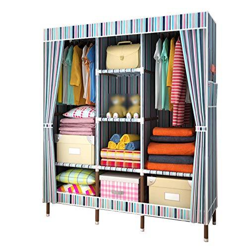 HMEIGUI Portable Cloth Wardrobe Storage Organizer - Washable Oxford Armoire Wardrobe Closet With Hanging Rod, Closet Organization Systems,Stripe_67x59 inch