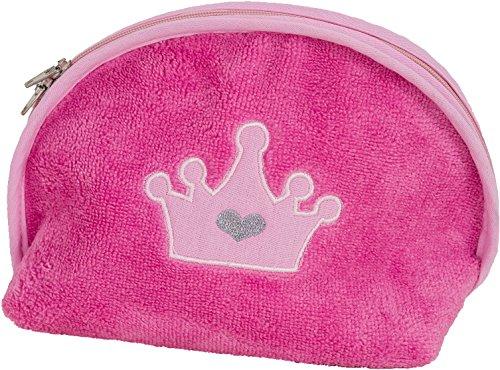 Smithy Mädchen Waschbeutel pink mit Krone – pflegeleichter superflauschiger Kulturbeutel mit praktischem Reißverschluss