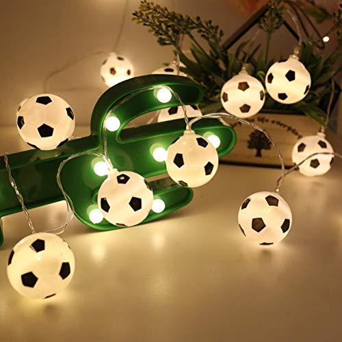 LEDMOMO Guirnalda de luces LED con forma de fútbol para decoración de fútbol (3 m, 20 ledes, funciona con batería)