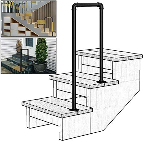 CMMC Staircase Handrails, U-Shaped Wrought Iron Handrail, Professional 2-Step or 3-Step Step Matte Black Galvanized Pipe Stair Handrail, Indoor or Outdoor Elderly Safety Non-Slip Support Bar