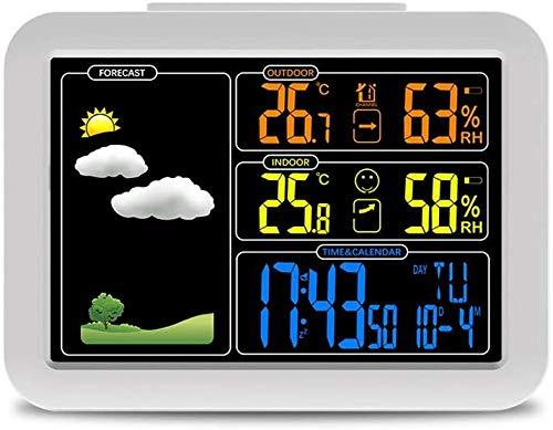 AJH Radio Controlled Wecker Wetterstation mit Temperatur-Feuchtigkeits-Sensor Bunte LCD-Wettervorhersage Uhren