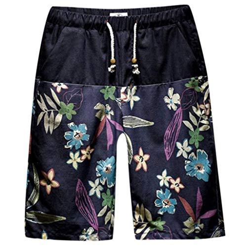 Hawaii Strandhose Herren Blumendruck Strandshorts Kordelzug Fitness Sportshorts Weiche Freizeit Kurze Pants Übergröße GreatestPAK,Schwarz,M