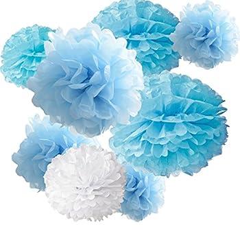 18pcs Tissue Hanging Paper Pom-poms Hmxpls Flower Ball Wedding Party Outdoor Decoration Premium Tissue Paper Pom Pom Flowers Craft Kit  Blue & White  8 / 10 / 12
