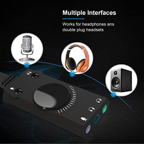 TechRise Tarjeta Sonido USB Tarjeta Sonido Externa Adaptador de Sonido Estéreo Externo Splitter Converter con Control de Volumen para Windows y Mac, Plug & Play sin Necesidad de Controladores