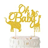 Oh Baby Cake Topper - BUSOHA Gold Glitter Jungle Wild Safari Animal...
