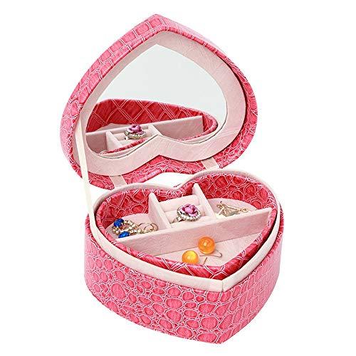 Contenitore per gioielli in valigia con scatola di Contenitore di monili di cuoio Contenitore a forma di cuore di viaggio a forma di cuore multi-strato Scatola di immagazzinaggio degli orecchini a for