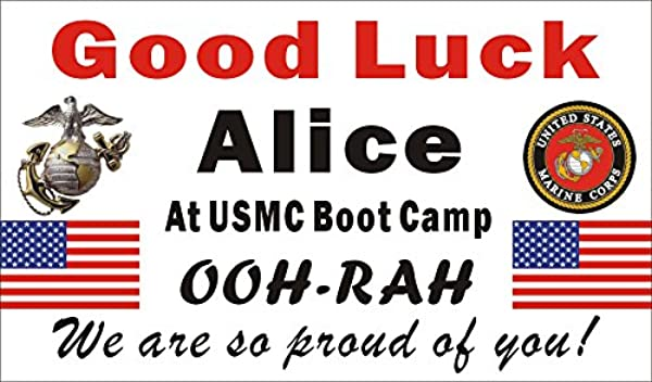 Alice Graphics 3ftX5ft Custom Personalized US Marine Corps Going Away Goodbye Farewell Deployment Party Banner Sign Good Luck At USMC Boot Camp