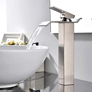 VAPSINT Modern Commercial Tall Single Handle Waterfall Brushed Nickel Vessel Sink Bathroom Faucet, Bathroom Sink Faucets