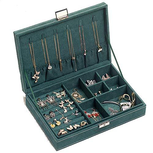 Schmuckkästen Schmuck-Box Doppel Locked Box Multi-Grid Layered Ohrring-Bolzen-Halskette Aufbewahrungsbox Geschenk for Familie (Color : Green, Size : 27 * 19 * 5cm)