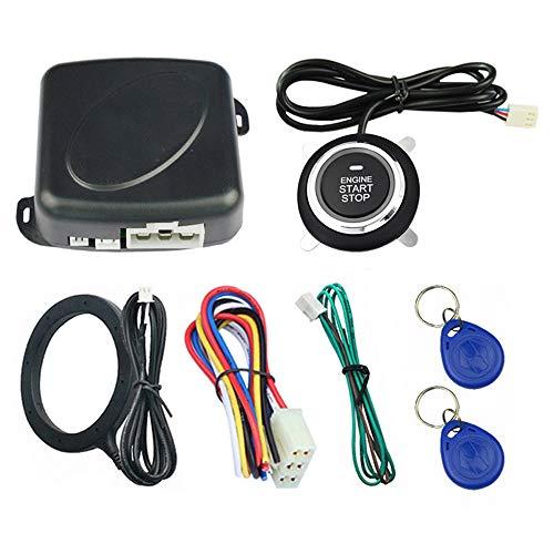CONRAL Sistema de Seguridad de Arranque con Alarma de Coche Universal de 12V, Sistema de Bloqueo RFID, Kit de botón de Entrada sin Llave antirrobo de inducción de Coche, fácil de Instalar