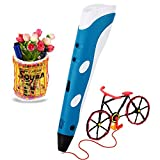 Soyan Standard 3D Printing Pen for Kids, With ABS Filament Sample and Drawing templates (Blue)