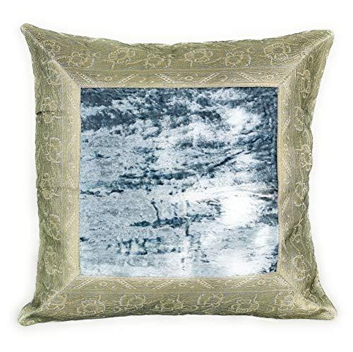 Agas Own - Funda de cojín (40 x 40 cm, estilo oriental), Terciopelo, brocado y algodón., gris plateado, 40 x 40 cm