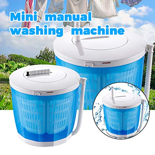 【US Stock】 Mini Manual Laminated Washing Machine, Portable 2 in 1 Rotary Dryer Combination &Turbine Washer,Small Size, Easy to Store and Carry for Camping Dorms Business Trip College Rooms (Blue)