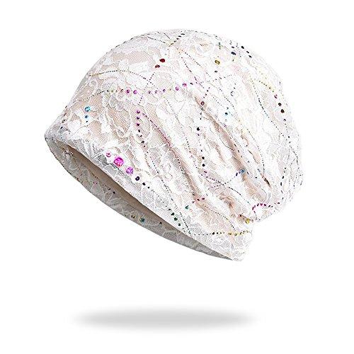 Welrog WELROG Chemo Hut Frau Hut Spitzen Kopftuch Super Weich Slouchy Turban Kopfbedeckungen Kopf Wraps(Weiß)