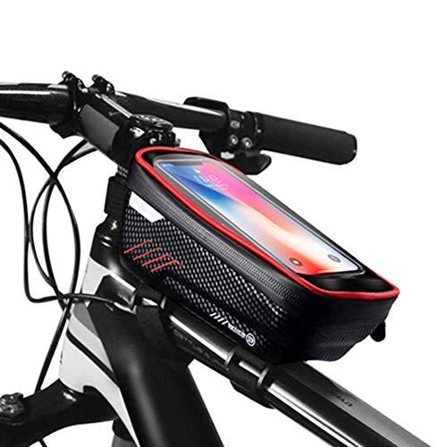 YJX Portaequipajes para Bicicletas, Tubo Superior Delantero, Reflectante, a Prueba de Lluvia, para Espacios Grandes, con Pantalla táctil, para teléfono móvil, Impermeable, para teléfono móvi