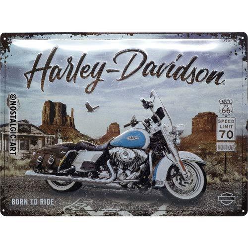 Nostalgic-Art Harley-Davidson – Route 66 Road King – Geschenk-Idee für Motorrad-Fans, Retro Blechschild, aus Metall, Vintage-Dekoration, 30 x 40 cm