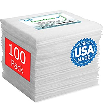 100 Pack Foam Sheets DAT 12  x 12  1/16  Thickness Foam Wrap Cushioning Material Moving Supplies for Packing Storage and Shipping