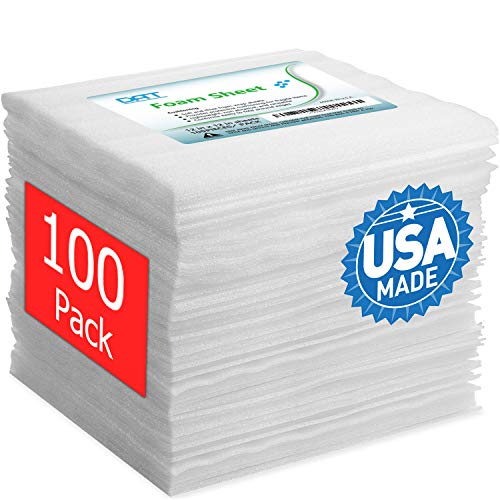 """100 Pack Foam Sheets, DAT 12"""" x 12"""", 1/16"""" Thickness, Foam Wrap Cushioning Material, Moving Supplies for Packing Storage and Shipping"""