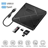 BEVA External DVD CD Drive, USB 3.0 & Type C CD/Dvd +/- RW burner with SD/TF Card Reader Portable Disk Player...