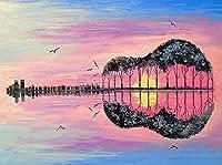5Dダイヤモンド刺繡キット抽象ギタークロスステッチフルドリルダイヤモンド絵画風景セット音楽モザイク家の装飾ギフト、40x55cm