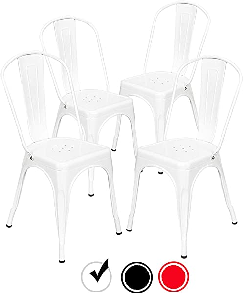Bonnlo Metal Dining Chairs Stackable Kitchen Dining Chairs Set Of 4 Industrial Bistro Caf Side Chairs Indoors Tolix Style Side Chairs White