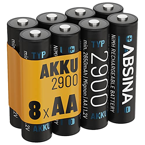 ABSINA Akku AA Mignon 2900 8er Pack - NiMH Wiederaufladbarer AA Akku mit min. 2650mAh & 1,2V - Akkus AA für Geräte mit hohem Stromverbrauch - AA Akkus ideal für Blitzgerät, Wii & Xbox Controller