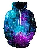 GLUDEAR Men's Novelty 3D Print Pullover Hoodie Hooded Sweatshirt,Blue Galaxy,L/XL