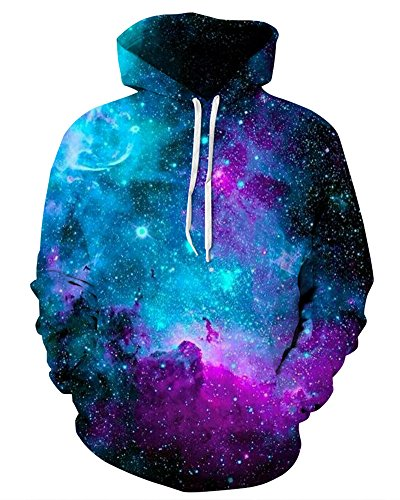 GLUDEAR Men's Novelty 3D Print Pullover Hoodie Hooded Sweatshirt,Blue Galaxy,S/M