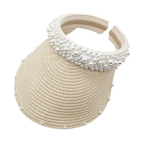 Vobery Diadema de perlas para mujer, para el pelo, sombrero, protección solar, sombrero, hueco, para el sol (beige)