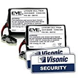 Visonic - Batería para MCS-740 y pegatinas para ventana para sirena PowerMax (2 unidades, 4,0 Ah)