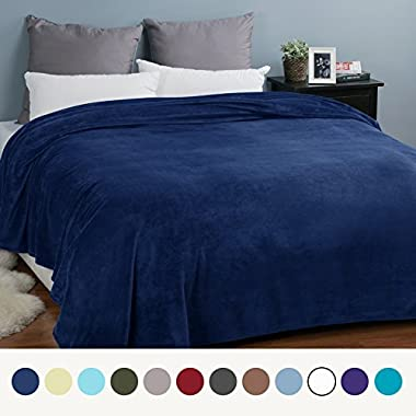 Bedsure Flannel Fleece Luxury Blanket Navy Queen Size Lightweight Cozy Plush Microfiber Solid Blanket by