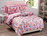 Linen Plus Comforter Set for Girls Unicorn Pink Blue Purple Orange Yellow New (Queen)