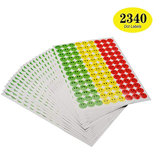 ONUPGO, Confezione da 2340 adesivi con faccina sorridente, adesivi per insegnanti, genitori, arti, artigianato, tabelle di ricompensa, 19 mm, rotondi A2 Happy/Nature/Sad