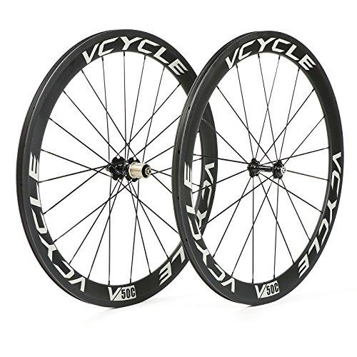 VCYCLE 700C Kohlefaser Rennrad Laufradsatz 50mm Drahtreifen 23mm Breite Shimano oder Sram 8/9/10/11 Speed