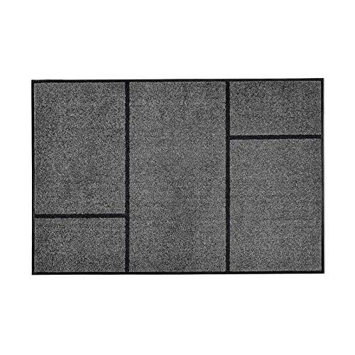 casa pura Moderne Fußmatte GEO | Zeitloses Design mit geometrischem Muster | rutschfeste Schmutzfangmatte mit Bester Reinigungswirkung | Türvorleger in edlem Anthrazit | 3 Größen (105x150 cm)