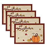 CHICHIC Set of 4 Fall Placemats for Dining Table, Thanksgiving Autumn Harvest Pumpkin Maple Leaf Table Mats Bordered Fabric Placemats for Holiday Table Decoration