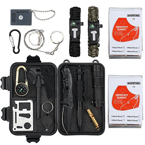 Emergency Survival Kit 16 in 1 Outdoor Survival Gear Kit Professional SOS Lifesaving Tool with Bracelet Whistle Temperature Compass Fire Starter Adventure More for Travel Hiking Field Camp Adventures