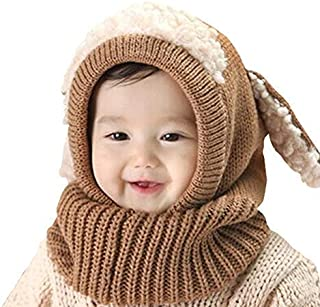 Scarf Woolen Earflap Hood Warm Skull Knit Caps,Crochet Earflap Pilot Hats Beanie Cap for Toddlers Baby Girls and Boys