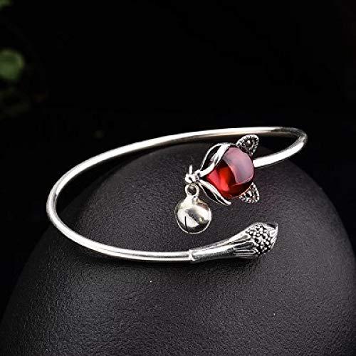 Kunze S925 Silber Armreifen, Damen Armreifen, Fuchs Armband, offene Glocke Armband für Frauen, einfach und modisch, verstellbar, Frauen