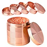 iRainy [5 Piece] Spice Herb Grinder with Pollen Catcher, 2.1 Inch, Metal Rose Gold