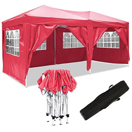 Eloklem Carpa con Paredes   Plegable, Impermeable, con Protección Solar, Ideal para Fiestas en el Jardín   Gazebo, Cenador, Pabellón, Tienda Fiestas (3x6 m, A_Rojo)