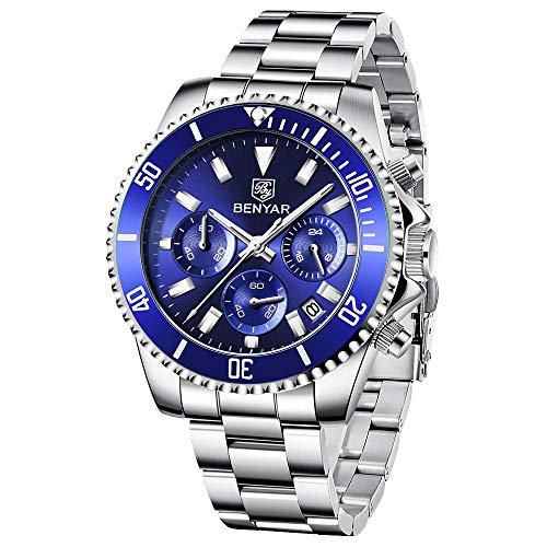 BY BENYAR Reloj para Hombre cronógrafo analógico a Prueba de Agua Reloj de Cuarzo Reloj de Acero Inoxidable de diseño para Hombre Reloj de Moda Casual para Hombre
