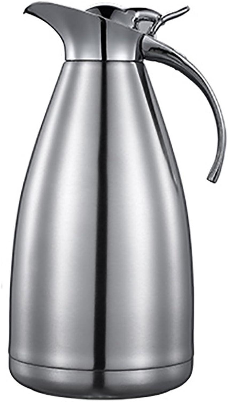 QFFL Acier inoxydable Pot d'isolation Bouteille d'eau chaude anti-échelle européenne Bouilloire antibactérienne Coffee Pot 2L thermos (Couleur   Steel Couleur, taille   28cm-2L)