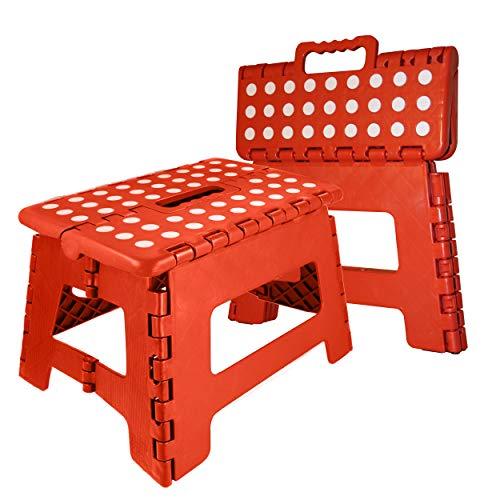 Oramics Klapphocker faltbar – 29 x 22 x 22 cm belastbar bis 100 Kg – praktischer Kunststoff Tritt-Hocker Klapptritt Trittleiter klappbar (Rot)