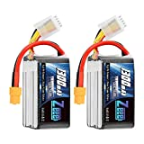 Zeee 14.8V 120C 1300mAh 4S RC Lipo Battery Graphene Battery with XT60 Plug for FPV Racing Drone Quadcopter Helicopter Airplane RC Boat RC Car RC Models(2 Pack)