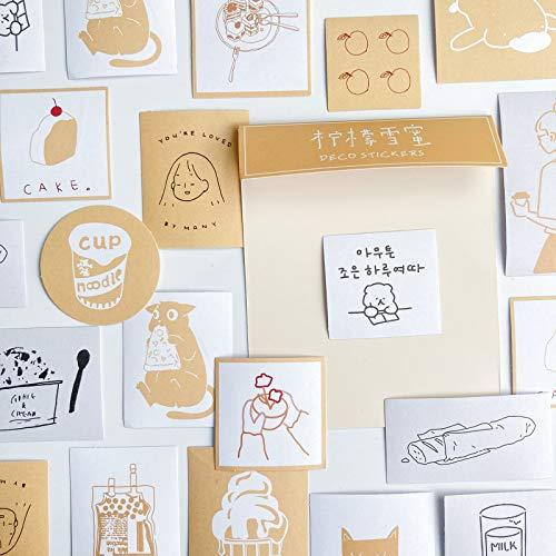TNYKER シール フレークシール 手帳ステッカー 手描き イラスト 韓国風 スケジュール 手帳 ノート 手紙 カレンダー シンプル おしゃれ かわいい 60枚セット きいろver.1