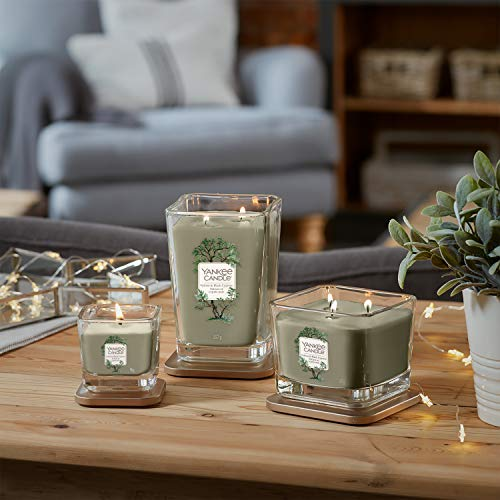 Yankee Candle candela profumata quadrata grande a 2 stoppini   Vetiver e cipresso nero   Durata della fragranza: fino a 80 ore   Elevation Collection con coperchio utilizzabile come base
